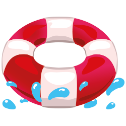 Life ring with water splashes