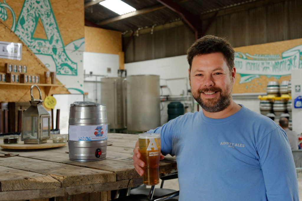 Sink or Swim Ale in a mini-keg with Andy from Ainsty Ales