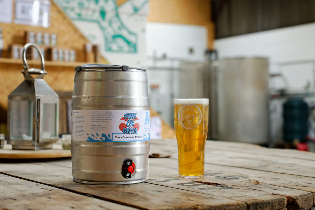 Sink or Swim Ale in a mini-keg