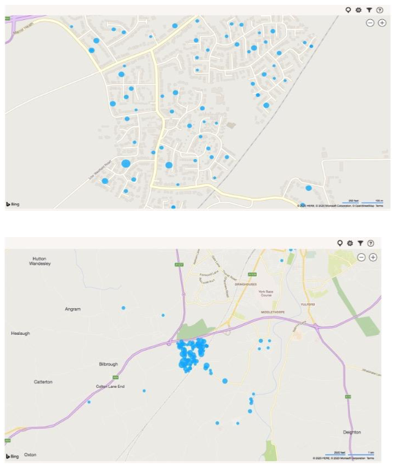 Survey responses by location, from supplied postcodes